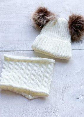 Ensemble chapeau et cache-cou blanc