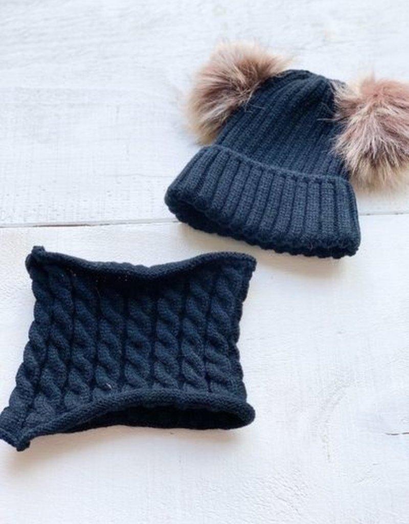 Ensemble chapeau et cache-cou noir