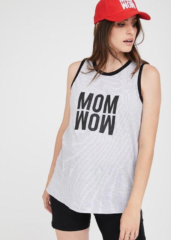Avishag Haut maternité ou non MOM WOW Blanc crème/noir