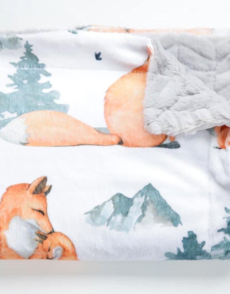Doux Bécot Couverture minky 27 x 40 renards d'amour