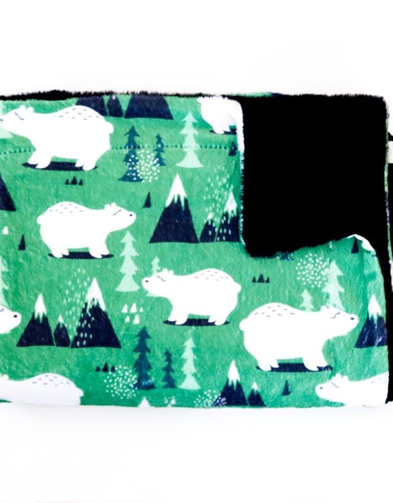 Doux Bécot Couverture minky 27 x 40 Ours fond vert