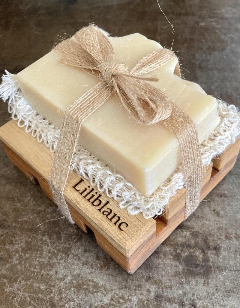 Ensemble cadeau Savon Sel Himalaya, pamplemousse et ylan ylang + porte savon + pochette en sisal