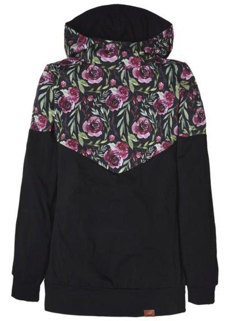 Nine Hoodie 3 en 1 Fleurs Bourgognes et noir