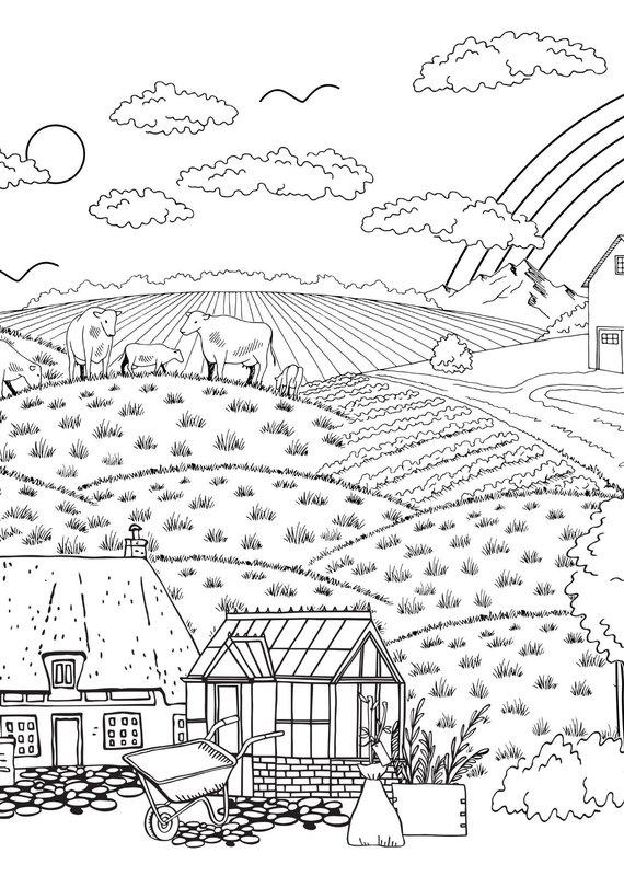 Bimoo Nappe à colorier Paysage 45 x 45po
