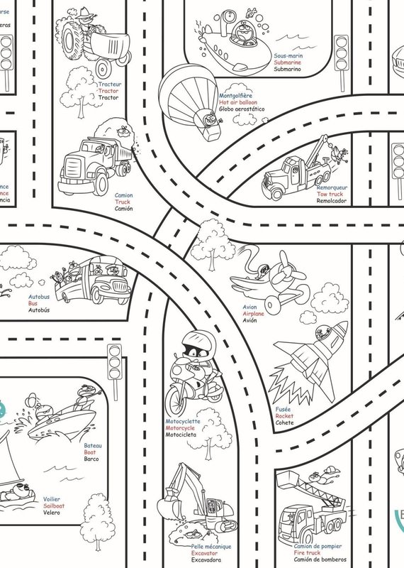 Bimoo Nappe à colorier Transports 45 x 45po