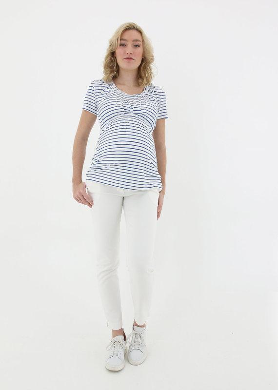 T-shirt maternité/allaitement manches courtes Breton bleu