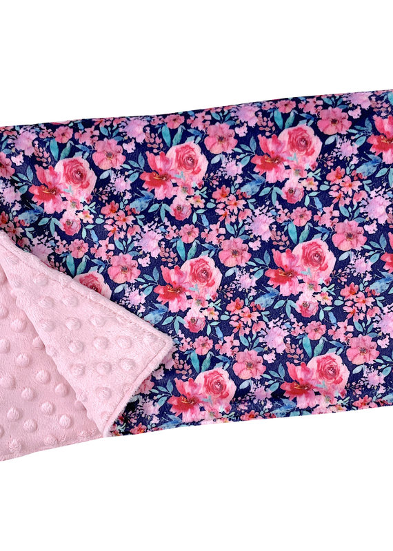 Couverture minky OOPS floral marine