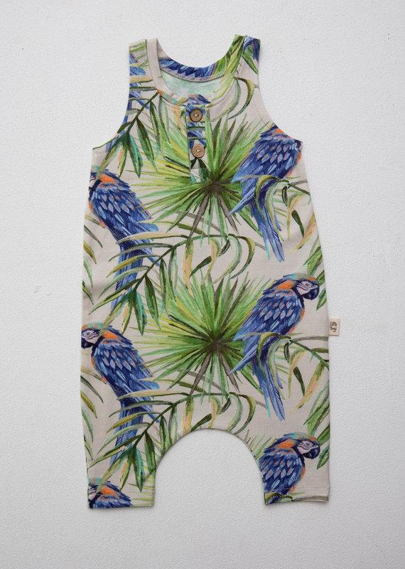 Little Yogi Romper Little blue parrots