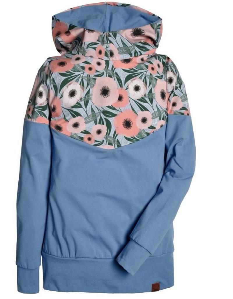Nine Hoodie 3 en 1 Fleurs corail et bleu