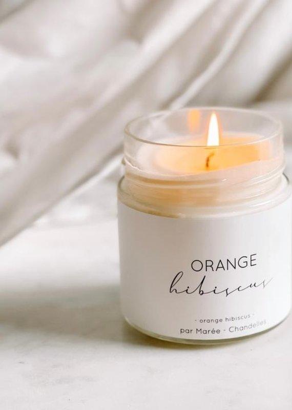 Marée Chandelles Chandelle cire de soya Orange et hibiscus