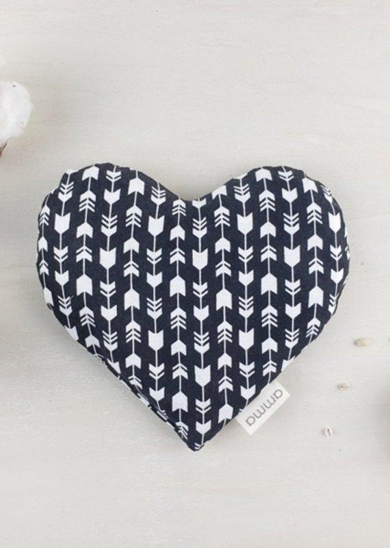 Amma Thérapie Coussin réconfort pour bébé en coeur - Flèches noir/blanc