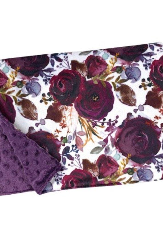 Couverture minky OOPS  floral violacé