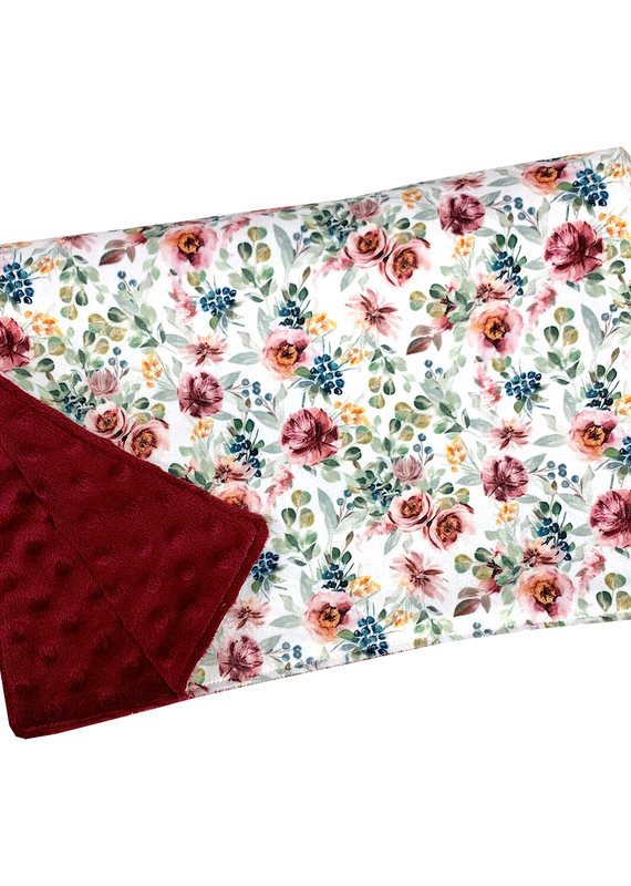 Couverture minky OOPS  floral bourgogne