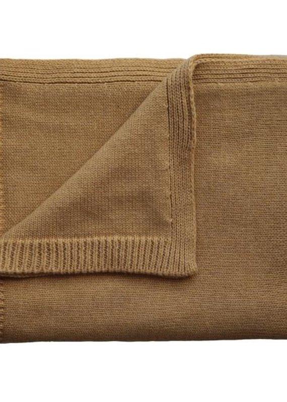Mushie Couverture tricot texturé Jaune moutarde