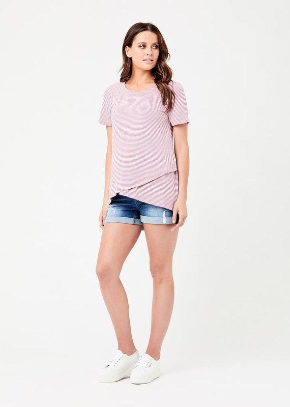 Ripe T-shirt maternité et allaitement rayures rose/blanc Maison