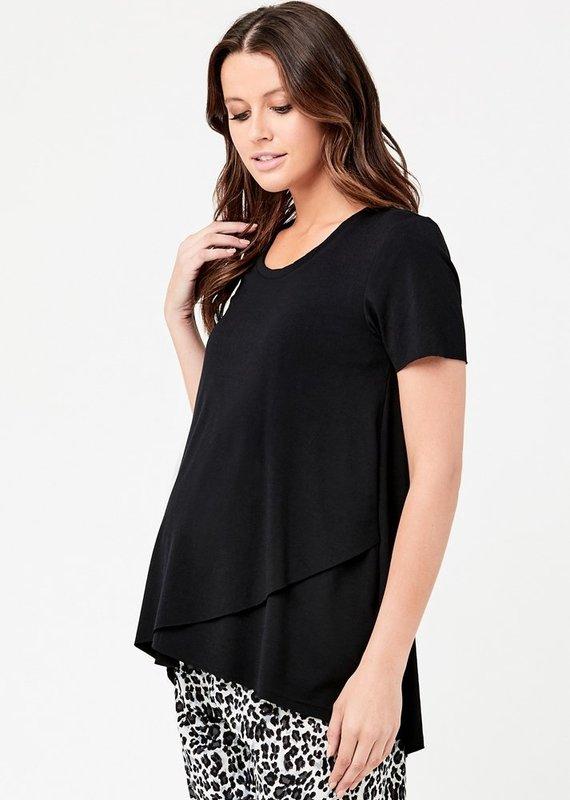 Ripe T-shirt maternité allaitement noir manches courtes raw