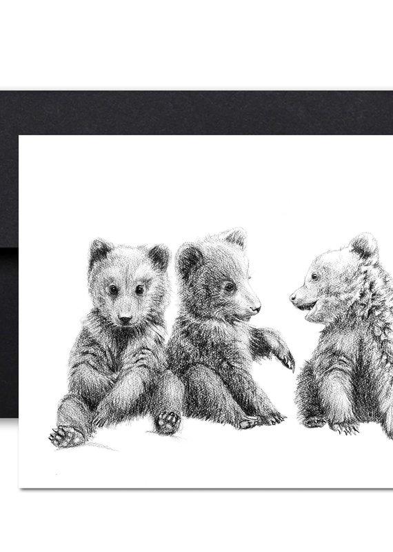 Le Nid Carte de souhait 3 bébés oursons