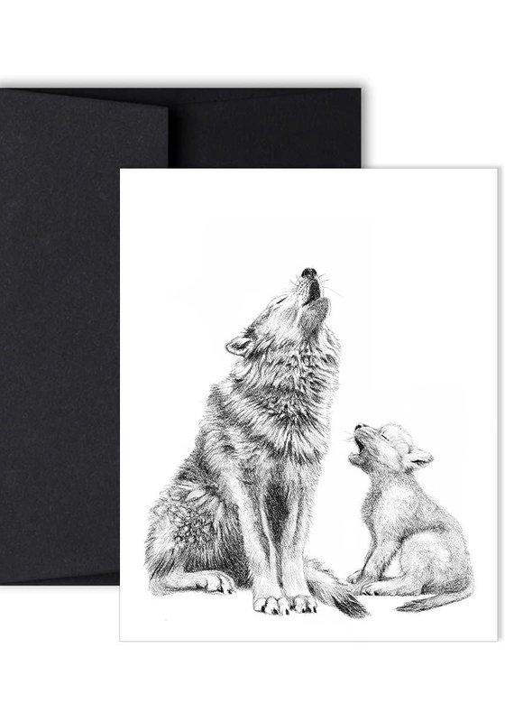 Le Nid Carte de souhait Maman loup et son bébé