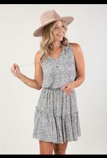 Love Stitch Dotted Sleeveless Ruffle Mini Dress