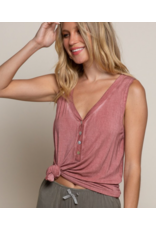 POL Washed Henley Tank