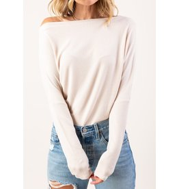 Love Stitch Easy Off Shoulder Micro Rib Tee