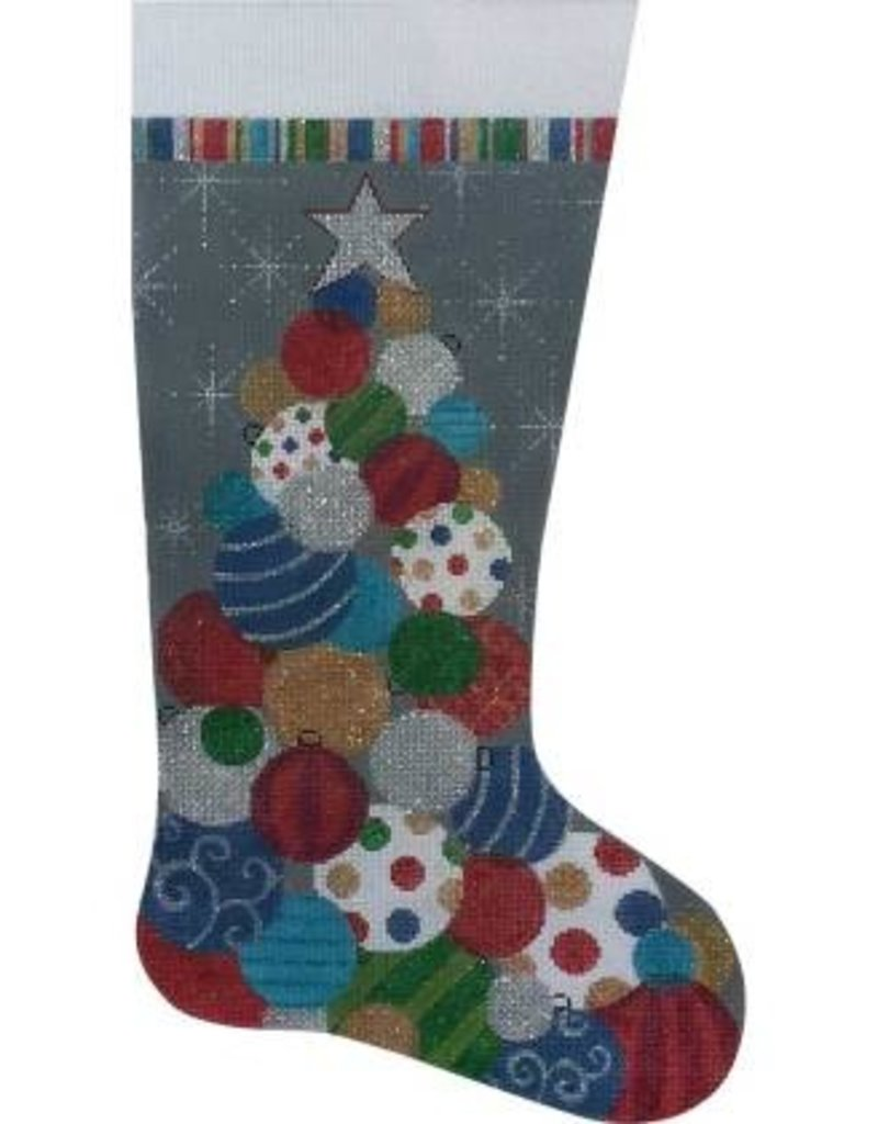 Alice Peterson 2755 AP STACKED ORNAMENTS STOCKING