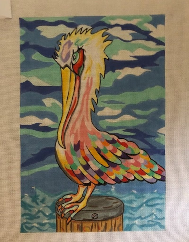 PP 271B Colorful Pelican on perch Judi and Co