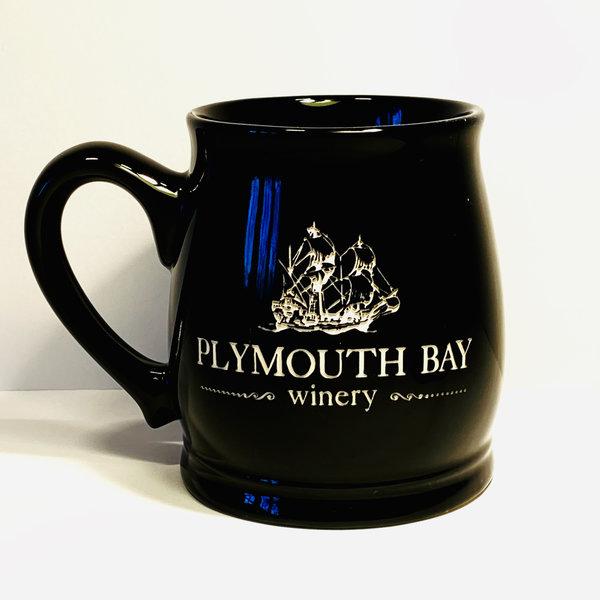 Plymouth Bay Winery Mug: Ceramic, Tankard, 15oz; Solid Black, PBW Logo Black 15oz