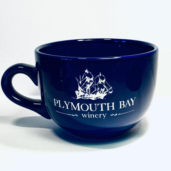 Plymouth Bay Winery Mug: Ceramic, Chowder, 24oz; Cobalt, PBW Logo Cobalt Blue 24oz