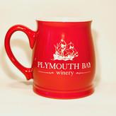 Plymouth Bay Winery Mug: Ceramic, Tankard, 15oz; Solid Red, PBW Logo Red 15oz