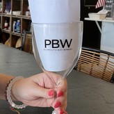Plymouth Bay Winery Wine Glass:  Stemmed, PBW, Acrylic Black Etch