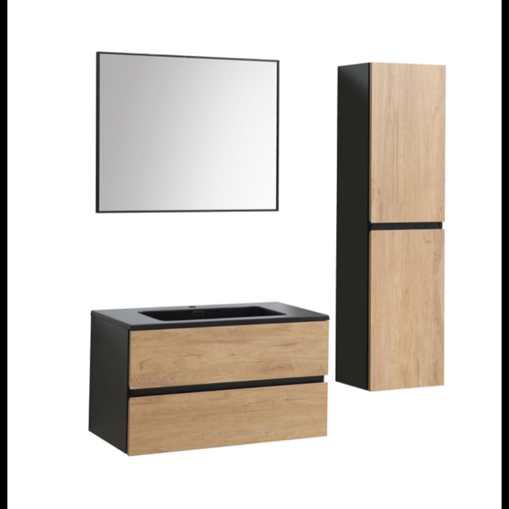 Miroir Akuaplus MIR9000 BL noir mat