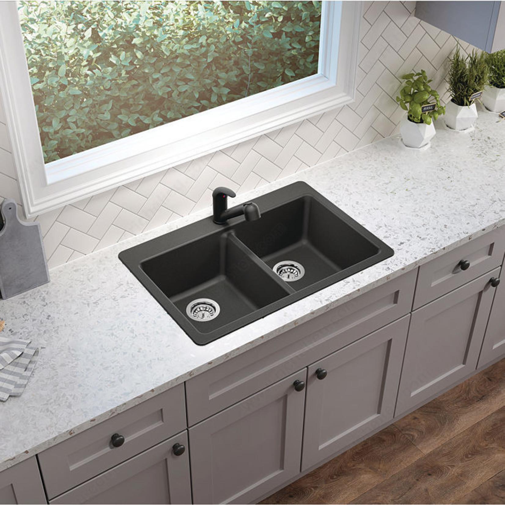 Evier double granite noir MB203GR  31''x20 1/2'' divisé