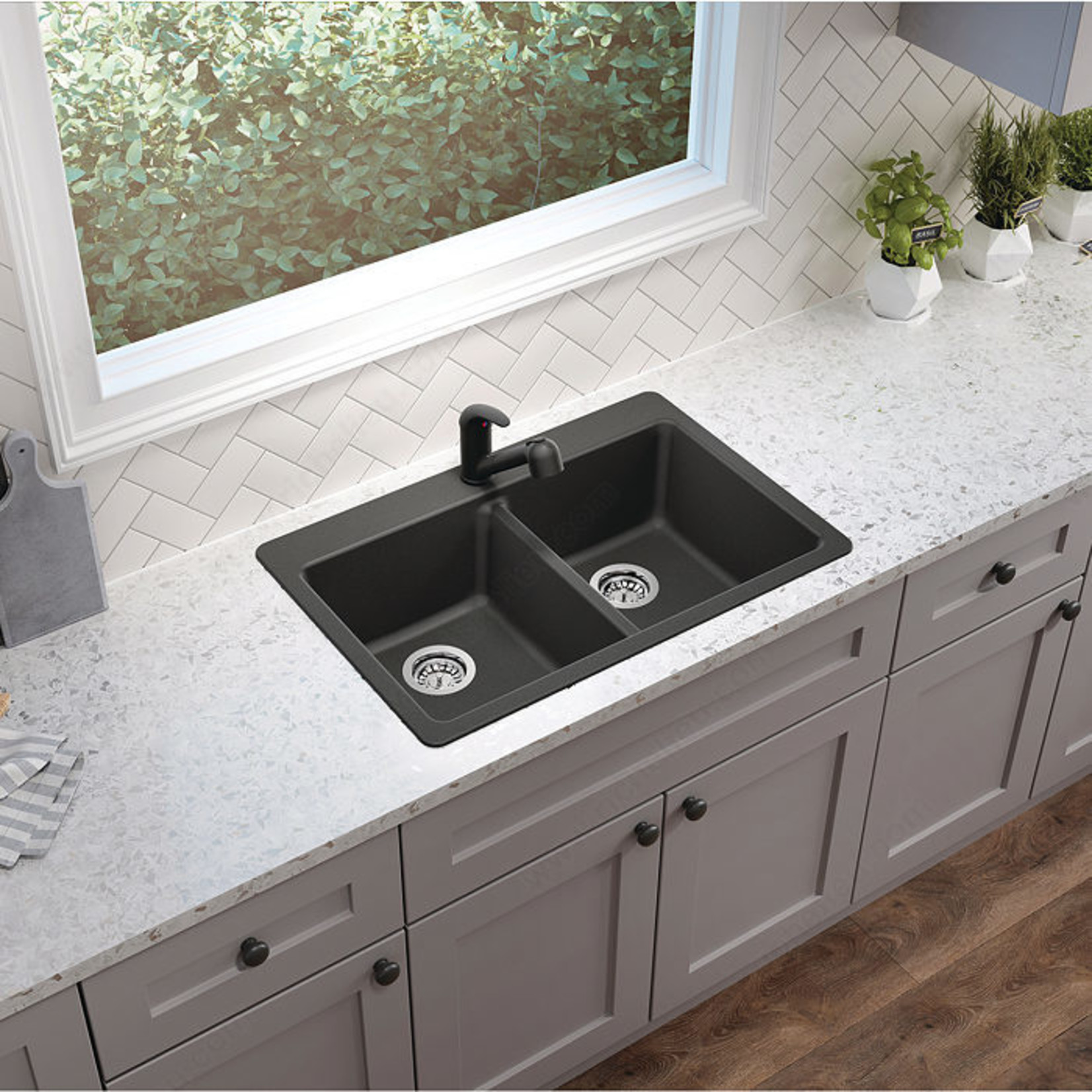 Évier double en granite noir Sur/Sous-plan 31''x20 1/2'' MB203GR
