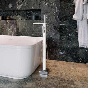 Robinet de bain autoportant infinity  Blanc & Chrome Ove