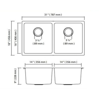 ZR200U sink 787x456x228 / 228mm