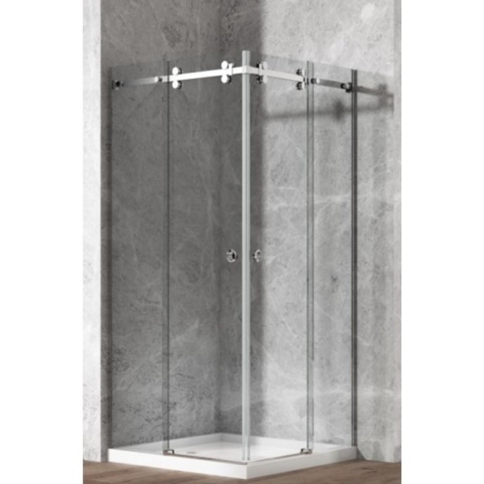 Ensemble de douche en coin  chrome 10mm 40'' x 40'' Lygie