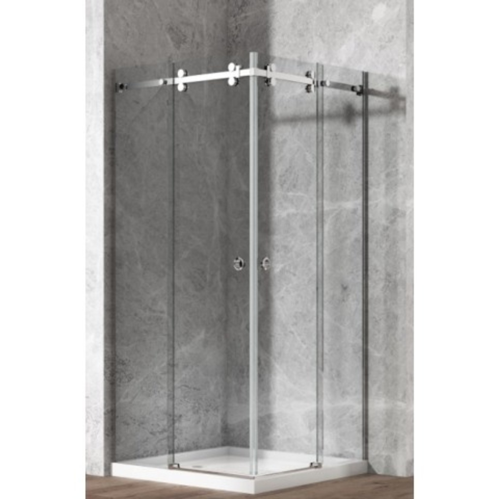 Lygie 40 '' x 40 '' Corner shower kit chrome 10mm