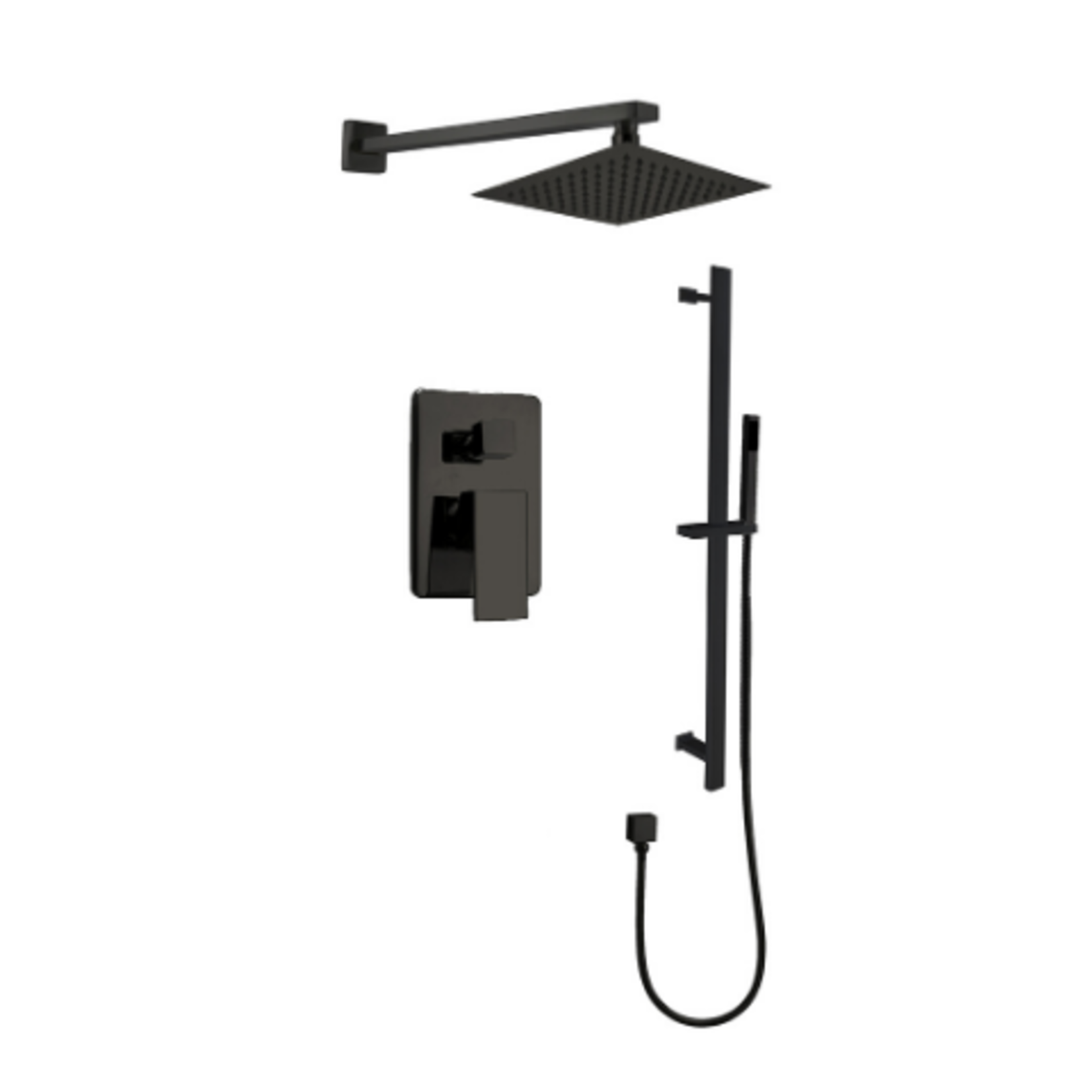 Black shower faucet set on rail kimmi collection 680903