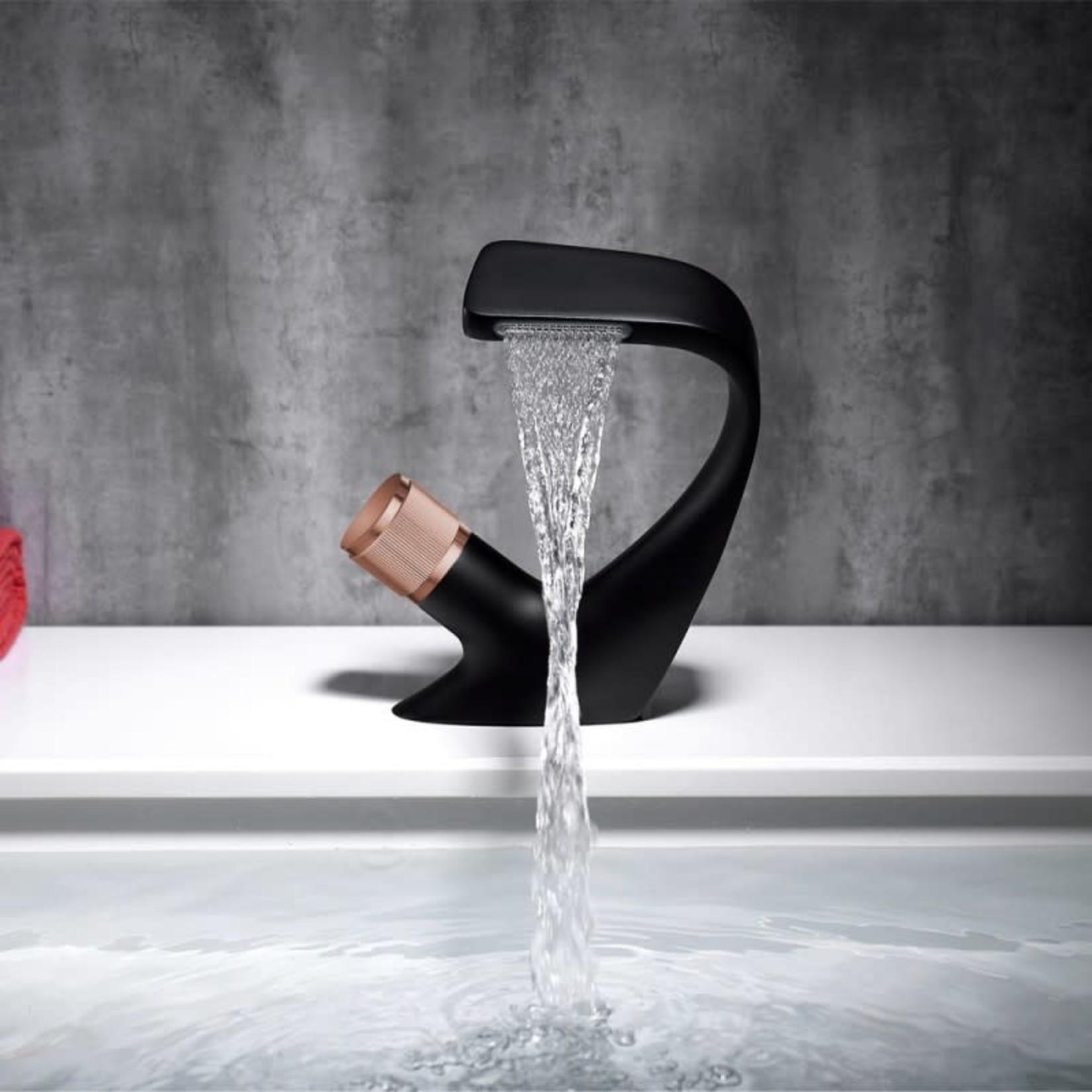 Luhö Robinet de lavabo Luho Noir Mat et Rose Gold 8011 BRG