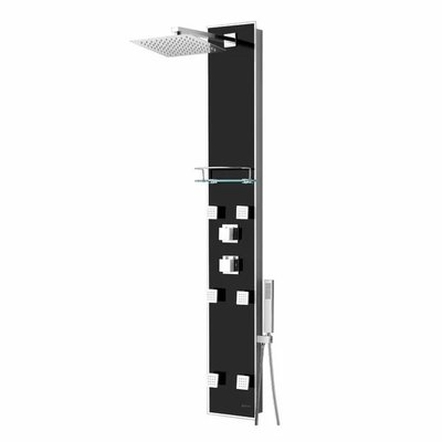 Zara Akuaplus Thermostatic Shower Column Black
