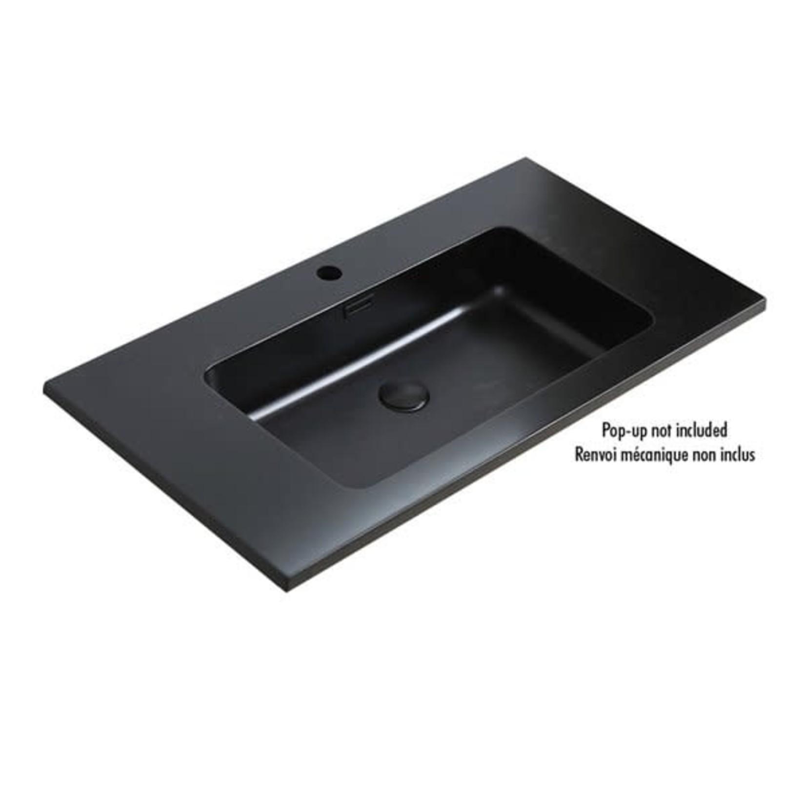 Lavabo en poussière de marbre fini noir LAV-9000-BL