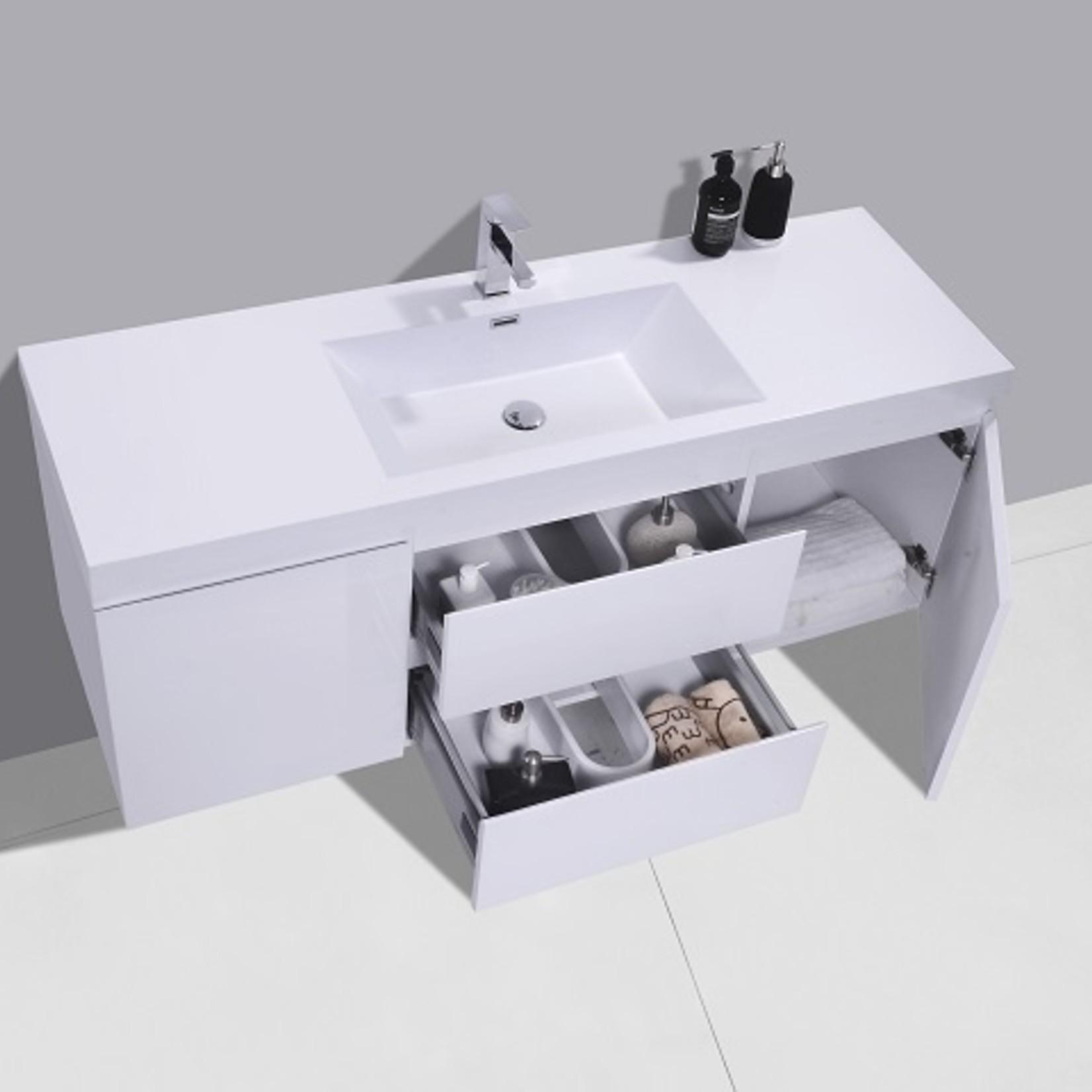 Vanité 48'' model alice simple blanc lustré