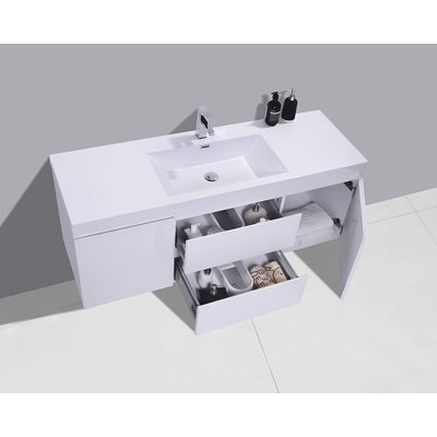 48 '' single glossy white vanity