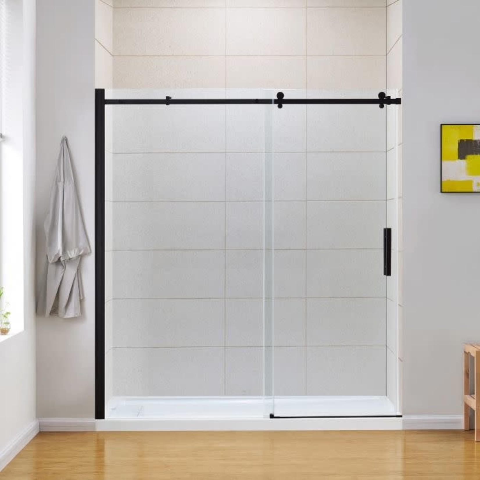 Final Sale - Kelsey 72 '' Matte Black 8mm Shower Door