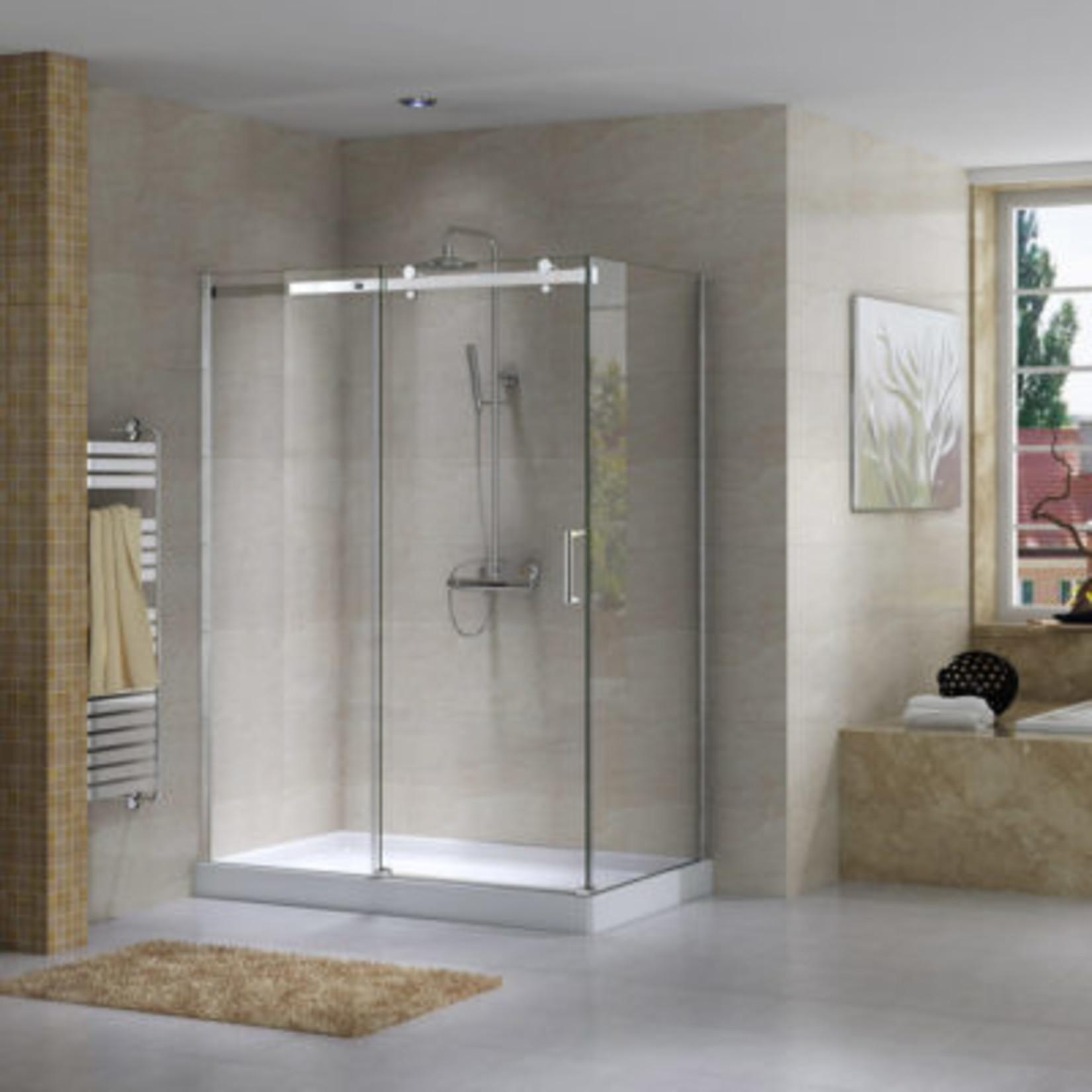 Reversible shower set 36x60 chrome Quartz Jade series
