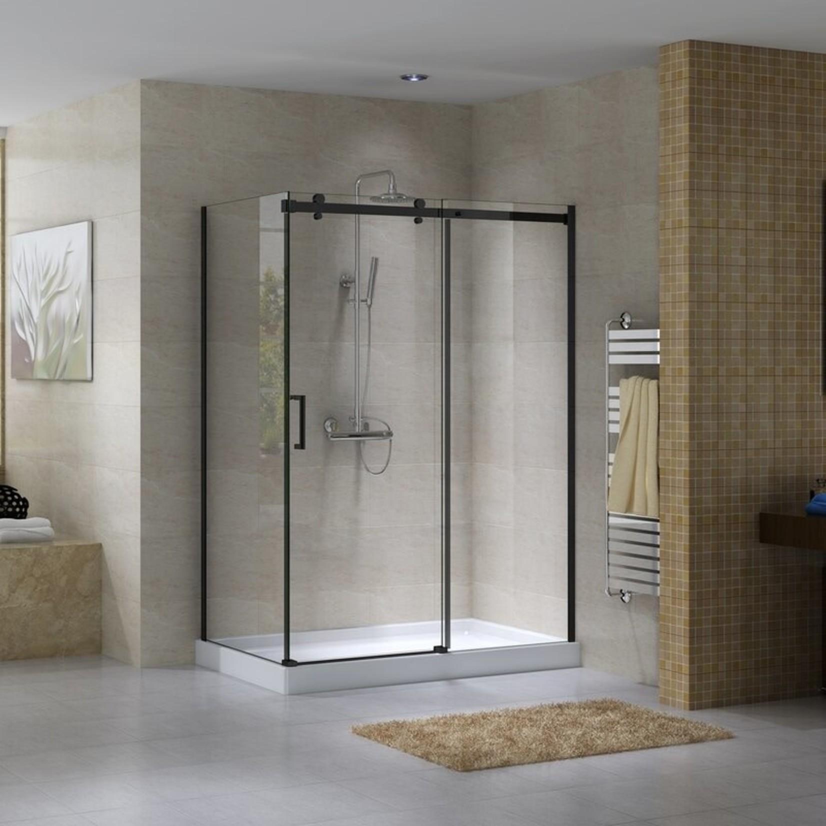Reversible shower set 36x60 black Quartz Jade series