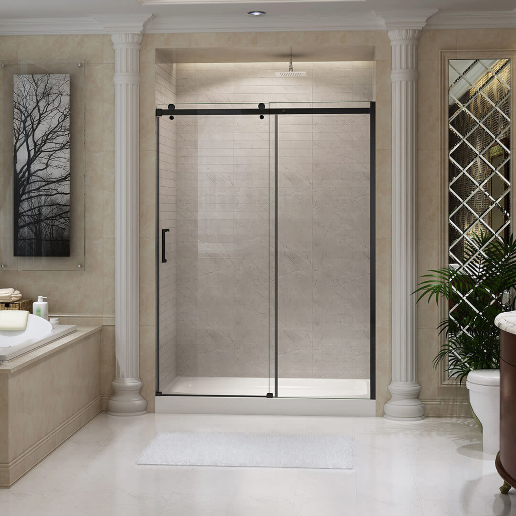 48 '' Matte black reversible shower door Quartz Jade series
