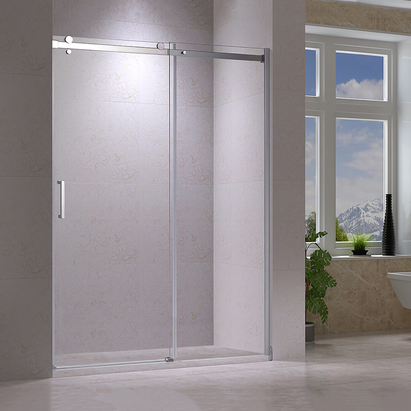 72 '' chrome reversible shower door Quartz Jade series