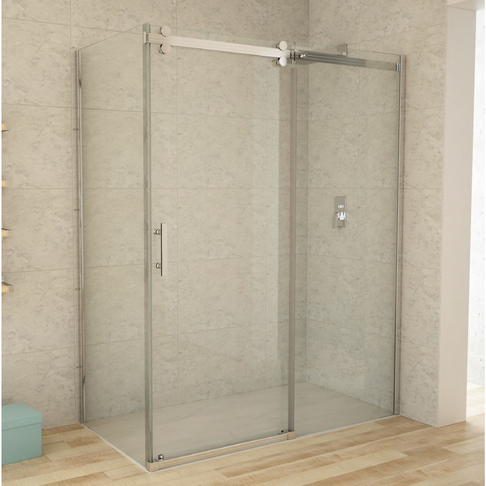 Reversible chrome shower set 36x60 CDC